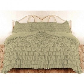 Multiple Waterfall Ruffle Duvet Cover 1000TC Sage