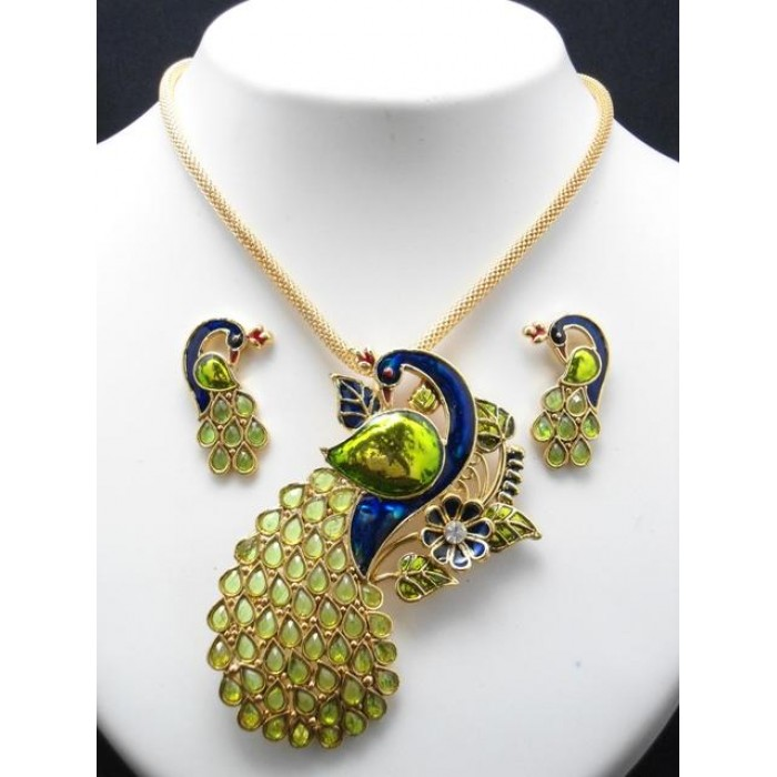 Fashion Designer Peacock Pendant Set